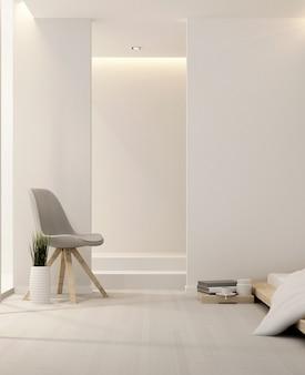 Sypialnia i salon w hotelu lub mieszkaniu - obraz pionowy - projektowanie wnętrz - renderowanie 3d