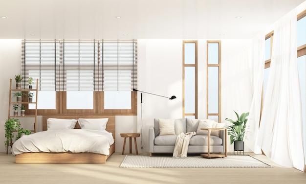 Sypialnia i salon w nowoczesnym stylu z drewnianą ramą okienną i przezroczystym renderowaniem 3d