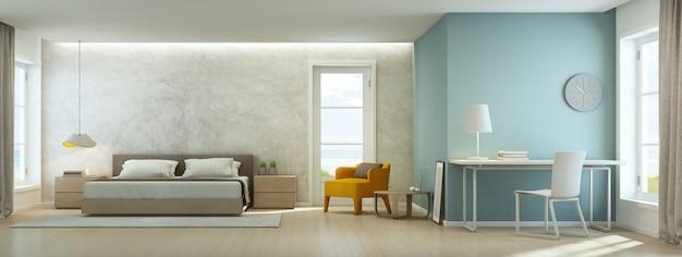 Sypialnia i salon z widokiem na morze w luksusowym domu na plaży.