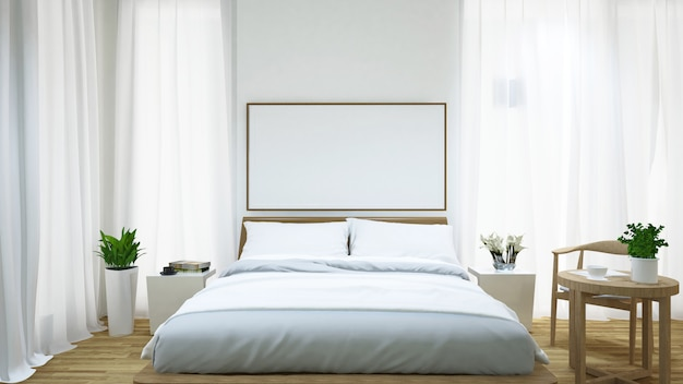 Sypialnia i stolik do kawy w domu - 3d rendering