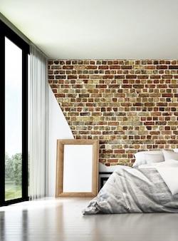 Sypialnia na poddaszu i ceglana ściana tekstury tła wnętrza projektu
