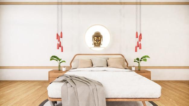 Sypialnia naśladuje drewniane łóżko w minimalistycznym stylu japonii. .