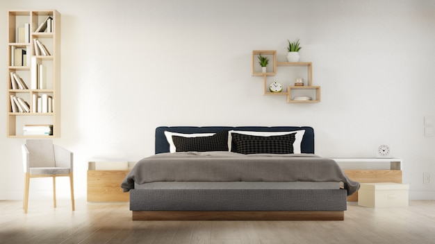 Sypialnia plakat wewnętrzny z łóżkiem