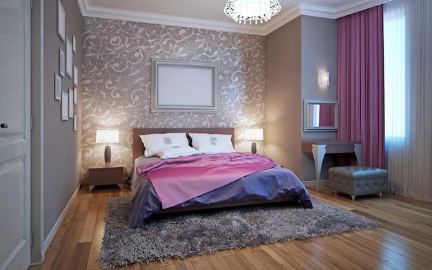 Sypialnia renderowania 3d w odcieniach szarości i bieli z fioletowymi akcentami
