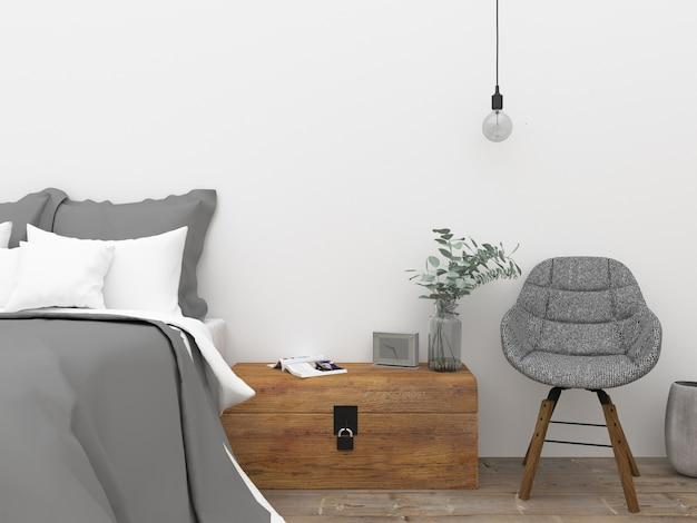 Sypialnia skandynawska - mockup na ścianie