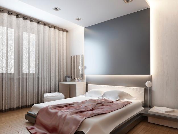 Sypialnia w jasnym stylu orientalnym z czerwonymi i żółtymi kwiatami. sypialnia z dużym łóżkiem, szafą przesuwną oraz systemem multimedialnym z telewizorem. renderowania 3d.