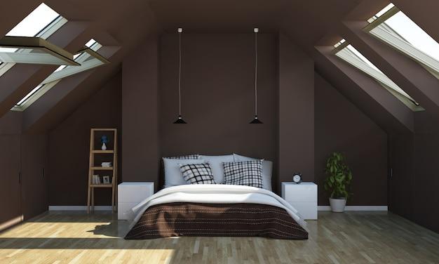 Sypialnia w kolorze czekoladowym na poddaszu