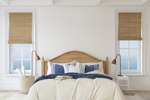 Sypialnia w nadmorskim stylu. makieta wnętrza. renderowania 3d.