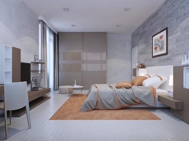 Sypialnia w stylu art deco w szarych kolorach z pomarańczowymi akcentami
