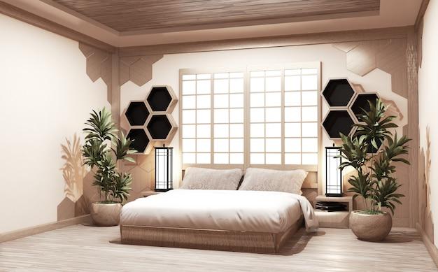 Sypialnia w stylu japońskim z roślinami, lampami i sześciokątnymi półkami