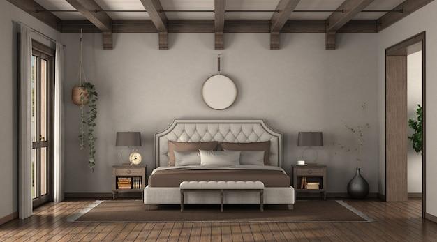 Sypialnia w stylu klasycznym z eleganckim podwójnym łóżkiem, szafkami nocnymi i drewnianymi belkami dachowymi - renderowanie 3d
