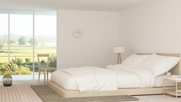 Sypialnia wewnętrzna w hotelu rendering 3d
