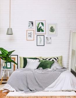 Sypialnia wnętrza domu stylu wzoru biała zieleń