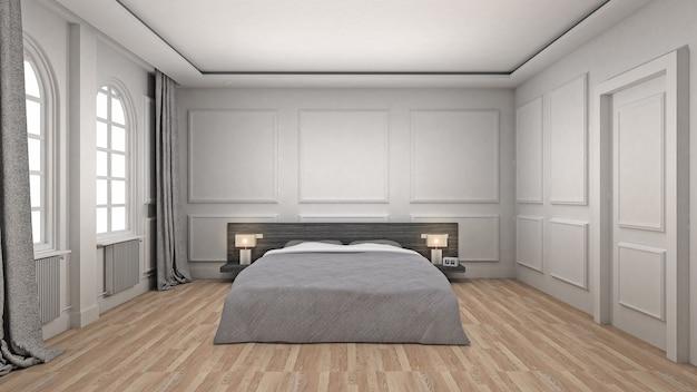 Sypialnia wnętrze drewniane podłogi w stylu klasycznym i luksusowym. renderowanie 3d