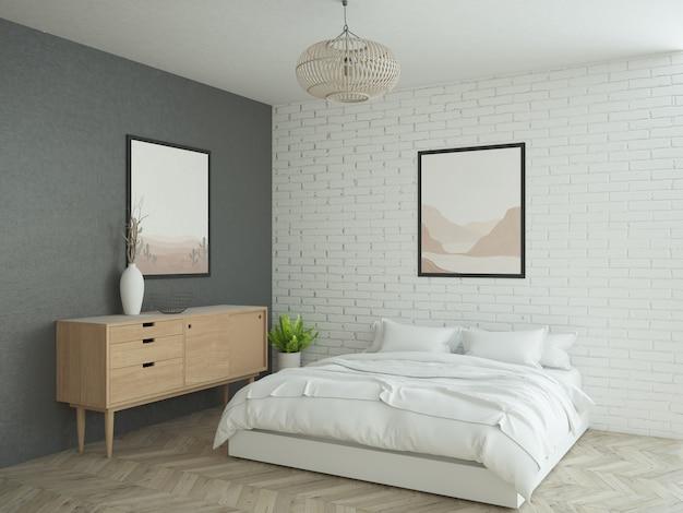 Sypialnia z białą ceglaną ścianą i dużym plakatem
