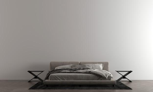 Sypialnia z białą ścianą ma nowoczesne łóżko i dekoracje, makiety wnętrza, renderowanie 3d