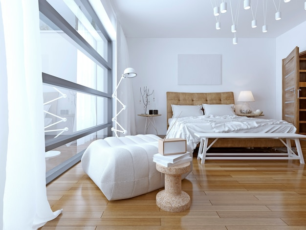Sypialnia z białymi ścianami w nowoczesnym stylu z panoramicznym oknem od podłogi do sufitu.
