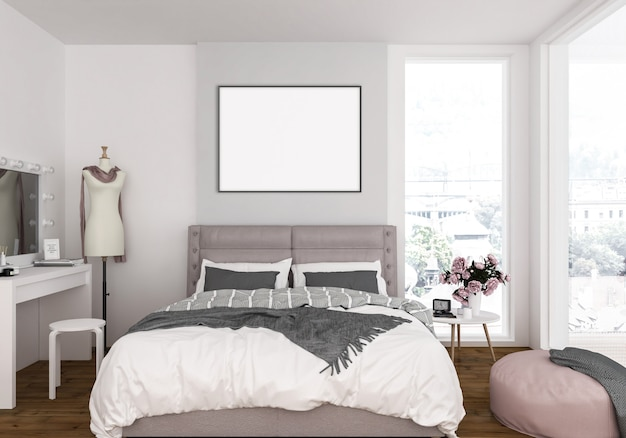 Sypialnia z pustą poziomą ramką na zdjęcia