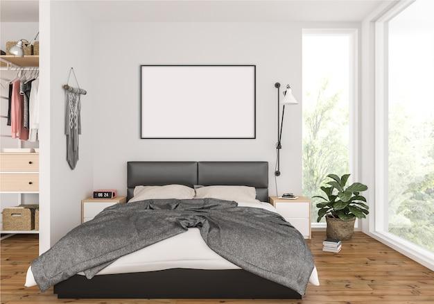 Sypialnia z ramą do zdjęć