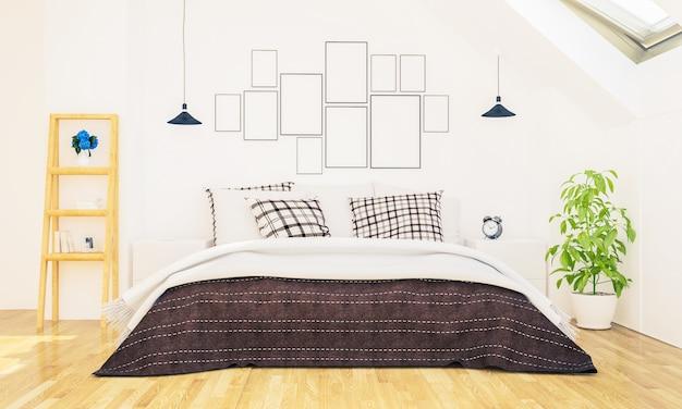 Sypialnia z ramkami do zdjęć na ścianie