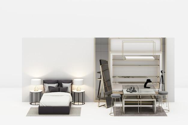 Sypialnia z spacerem w szafy biżuterii dekoraci w nowożytnym luksusu stylu i siwieje brzmienie meblarskiego rendering 3d