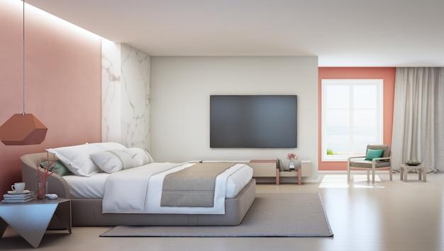 Sypialnia z widokiem na morze i różowy koralowy salon luksusowego letniego domu na plaży z podwójnym łóżkiem w pobliżu drewnianej szafki.