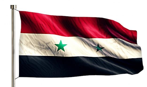 Syrii national flag pojedyncze 3d białe tło