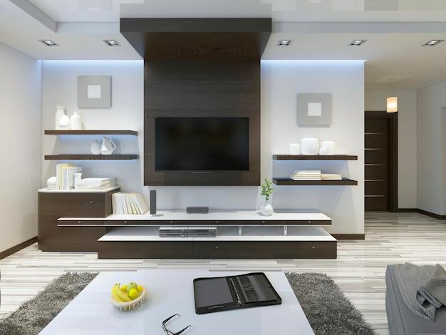 System audio z telewizorem i półkami w salonie nowoczesny styl. meble fornirowane drewnem w kolorze brązowym z panelami dekoracyjnymi. renderowania 3d.