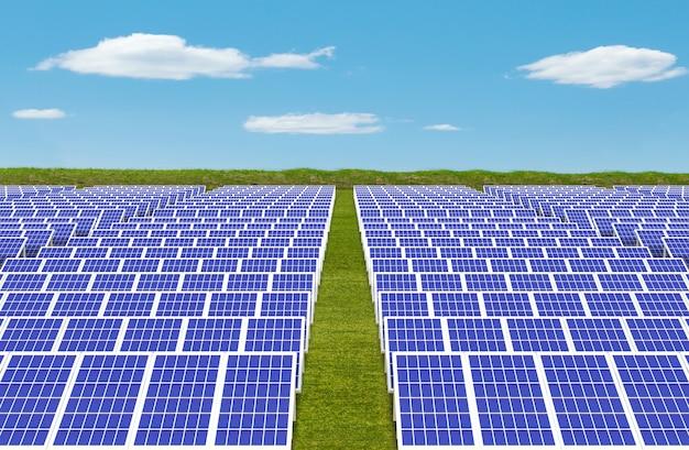 System generatora energii elektrycznej, panele ogniw słonecznych pole farma