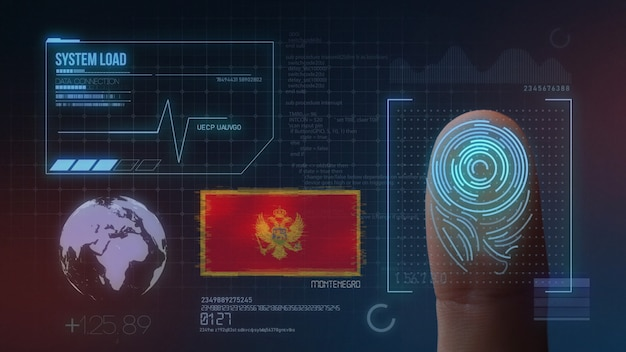 System identyfikacji biometrycznej skanowania odcisków palców. czarnogóra obywatelstwo