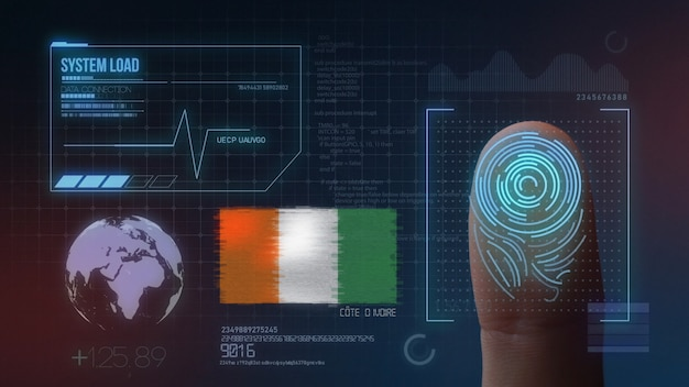System identyfikacji biometrycznej skanowania odcisków palców. obywatelstwo wybrzeża kości słoniowej