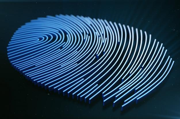 System identyfikacji skanowania odcisków palców. skanowanie odcisków palców zapewnia dostęp bezpieczeństwa z identyfikacją biometryczną. renderowanie 3d.