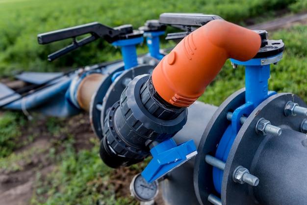 System nawadniania kropelkowego. energooszczędny system nawadniania kropelkowego stosowany w polu młodych marchwi.