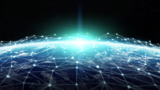 System połączeń i wymiany danych na temat renderingu 3d planety ziemia