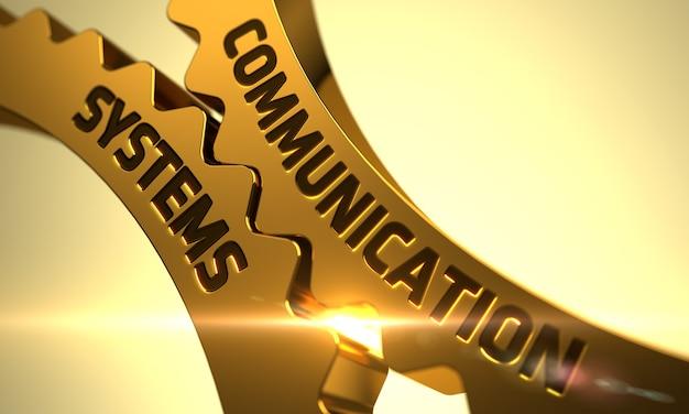 Systemy komunikacji w mechanizmie złotych metalowych kół zębatych. systemy komunikacji złote metalowe koła zębate. złote koła zębate z koncepcją systemów komunikacji. 3d.
