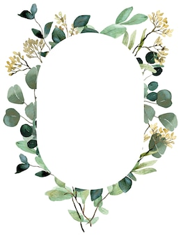 Szablon akwarela lato zieleni. nasiona eukaliptusa, wiosenna rama zieleni. rama kwiatowy zaproszenie ślubne.