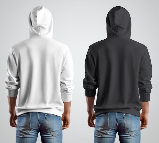 Szablon biało-czarne bluzy z kapturem na młodego faceta, widok z tyłu. projekt nowoczesnej odzieży do sklepu. układ ubrań na sprzedaż.