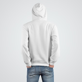 Szablon prezentacji makiety z białą bluzą z kapturem na młodego faceta, widok z tyłu. projekt nowoczesnej odzieży do sklepu. odzież męska z kapturem