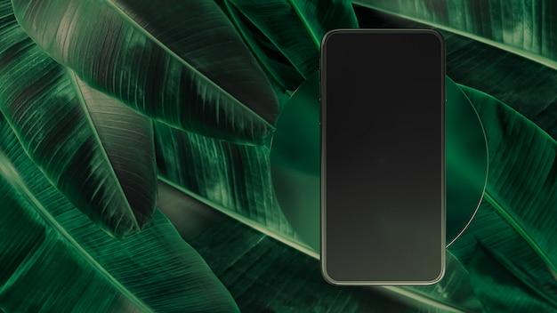 Szablon smartfona z pustym ekranem. ilustracja 3d. makieta widoku z przodu. streszczenie minimalna scena do prezentacji aplikacji na tle spadających liści.