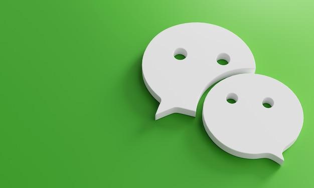 Szablon wechat logo minimal simple. kopiuj przestrzeń 3d