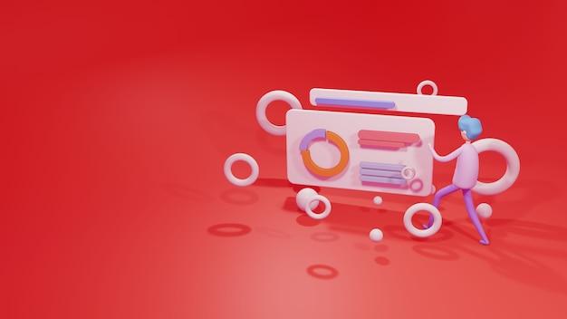 Szablon witryny sieci web ilustracja renderowania 3d