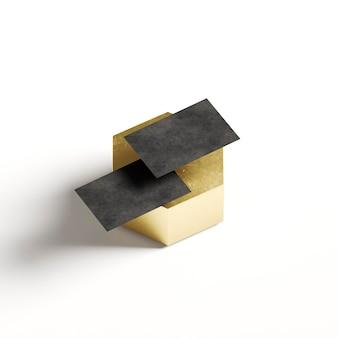 Szablony wizytówek na złotym kształcie geometrycznym