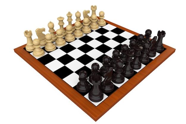 Szachownica przygotowana do rozpoczęcia gry na białym tle