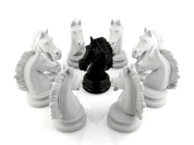 Szachy czarny rycerz otoczony grupą szachów białego rycerza