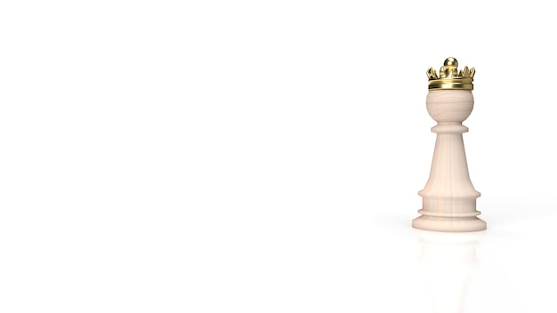 Szachy drewniane i złota korona na białym tle