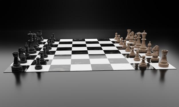 Szachy gra planszowa konkurencji renderowania 3d