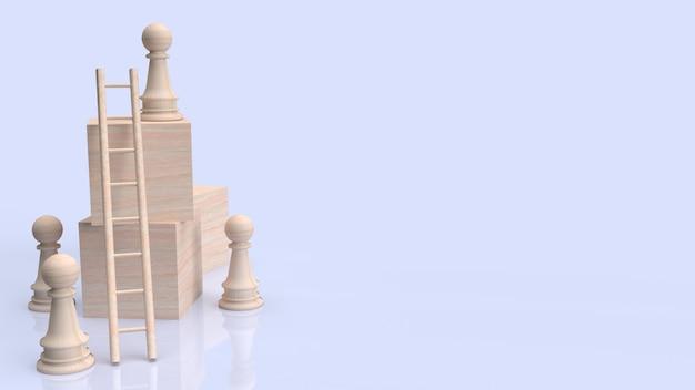 Szachy i schody na drewnianej kostce do renderowania 3d koncepcji biznesowej