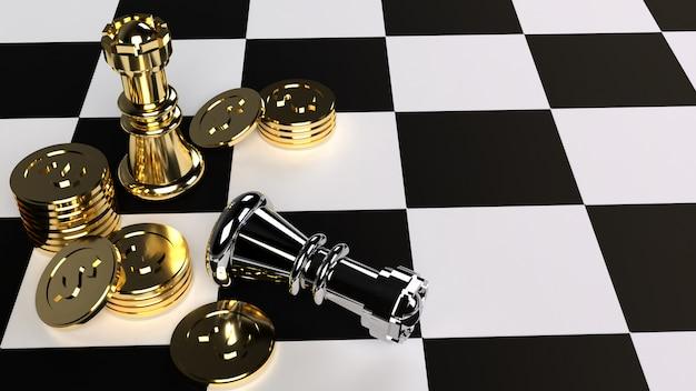 Szachy i złote monety renderowania 3d dla treści biznesowych.