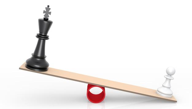 Szachy na skalach. koncepcja rywalizacji. renderowanie 3d