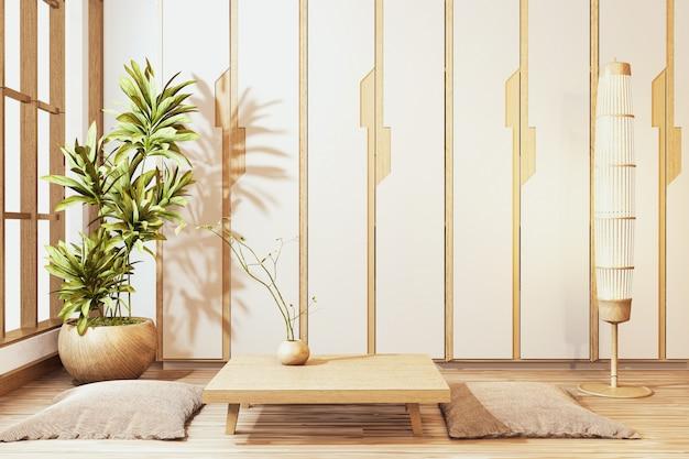 Szafa w stylu japońskim z niskim drewnianym stołem i siedzącą poduszką pusty pokój minimalne wnętrze. renderowanie 3d